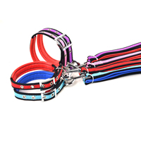 Stripe Pattern Dog Collars and Dog Leashes Set Soft Foam Lining