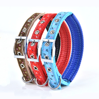 Small Bow Pattern Dog Collars Pin Buckles Soft Foam Lining