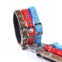 Small Bow Pattern Dog Collars and Dog Leashes Set Soft Foam Lining