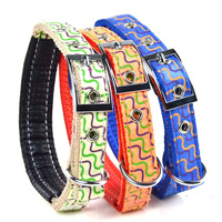 Waves Pattern Dog Collars Pin Buckles Soft Foam Lining