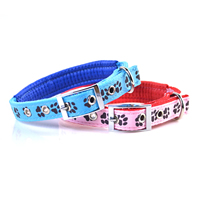 Paws Pattern Dog Collars Pin Buckles Soft Foam Lining