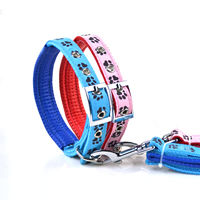 Paws Pattern Dog Collars and Dog Leashes Set Soft Foam Lining