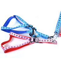Paws Pattern Dog Harnesses and Dog Leashes Set Soft Foam Lining